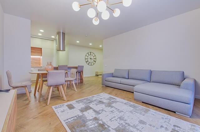 Kamera wewnętrzna w przestronnym apartamencie z jasnymi ścianami szarą sofą i szarym dywanie