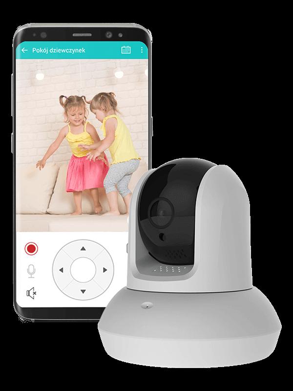 kamera zewnętrzna i telefon z widokiem aplikacji Bezpieczny Dom na którym widać dwie podskakujące kilkuletnie dziewczynki